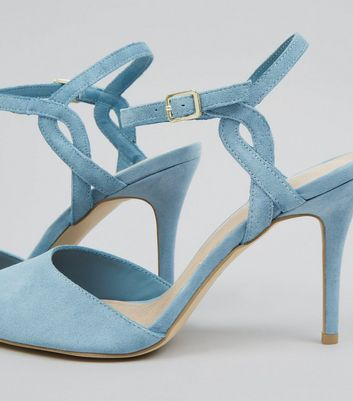 Blue Comfort Suede Cross Strap Side Pointed Heels New Look
