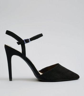 Black Suede Pointed Heels   New Look