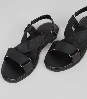 Wide Fit Black Ring Strap Footbed Sandals