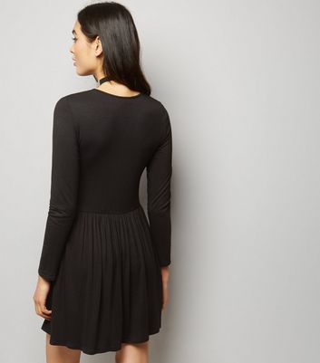 Black Long Sleeve Smock Dress New Look