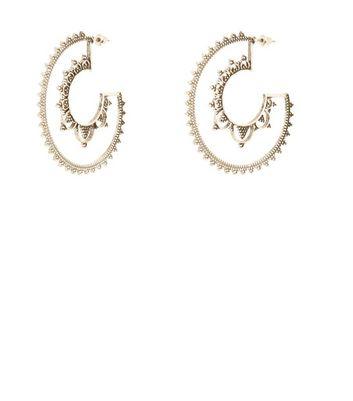 Silver Textured Grunge Hoop Earrings New Look