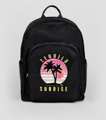 Black Tequila Sunrise Embroidered Backpack New Look