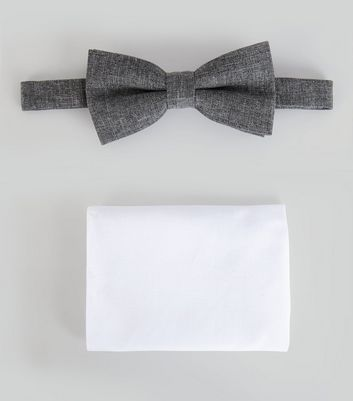 Grey Bow Tie And Pocket Square Set New Look