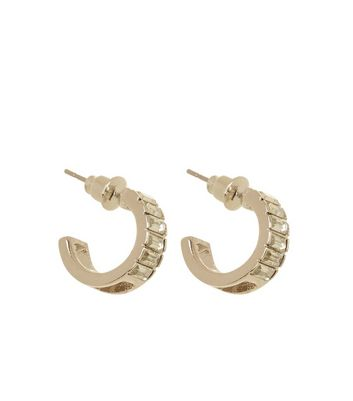 Gold Square Stone Hoop Earrings New Look