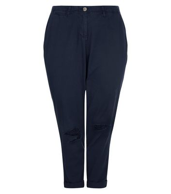 Curves Navy Ripped Knee Chinos New Look