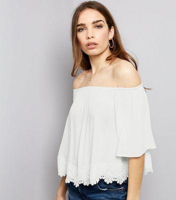 White Crochet Lace Hem Bardot Neck Top New Look
