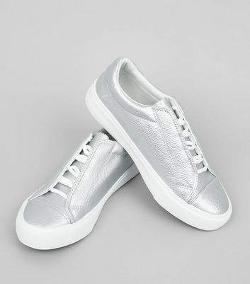 Teens Silver Concealed Lace Trainers New Look
