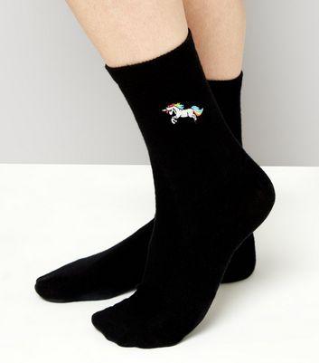Black Unicorn Embroidered Socks New Look