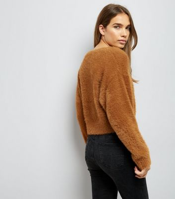 Brown Fluffy Cropped Jumper New Look