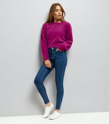 Purple Fluffy Cropped Jumper New Look