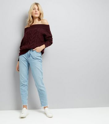 Burgundy Cable Knit Bardot Neck Jumper New Look