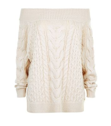 Shell Pink Cable Knit Bardot Neck Jumper New Look