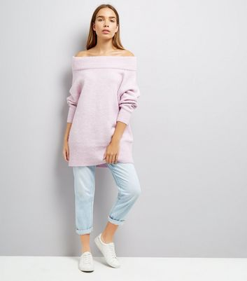 Pink Bardot Neck Longline Jumper New Look