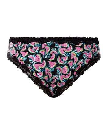 Black Watermelon Print Lace Trim Brazilian Briefs New Look