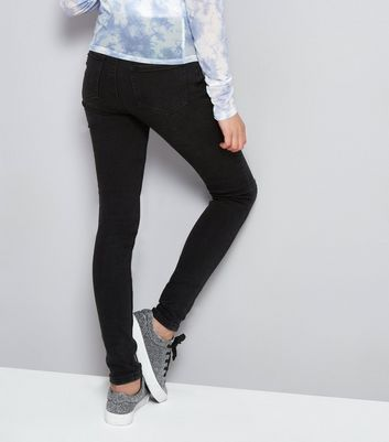 Teens Black Studded Waistband Skinny Jeans New Look