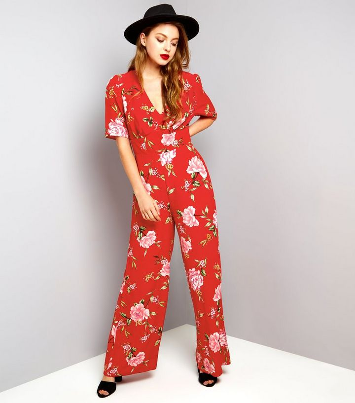 sale usa online new styles look for Red Floral Print Short Sleeve Jumpsuit Add to Saved Items Remove from Saved  Items