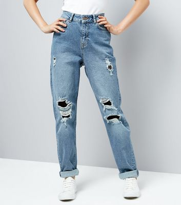 Teens Blue Ripped Fishnet Knee Mom Jeans New Look