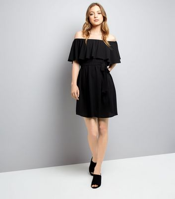 Black Frill Layered Bardot Neck Dress New Look
