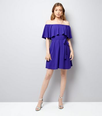 Purple Frill Layered Bardot Neck Dress New Look