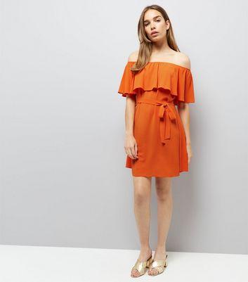 Orange Frill Layered Bardot Neck Dress New Look