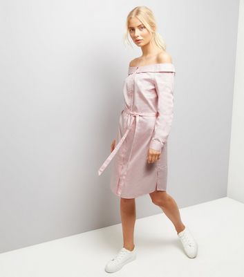 Shell Pink Bardot Neck Shirt Dress New Look
