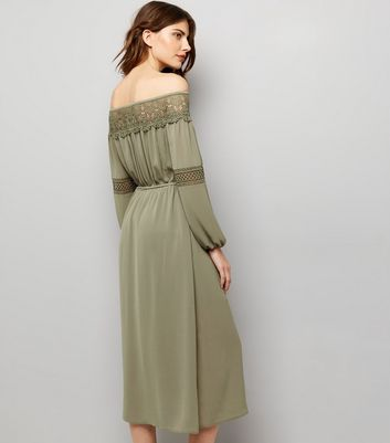 Khaki Crochet Lace Trim Bardot Neck Midi Dress New Look