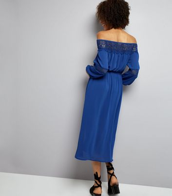 Blue Crochet Lace Trim Bardot Neck Midi Dress New Look