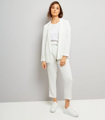 White Pinstripe Tie Waist Trousers New Look
