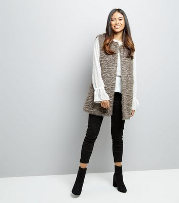 Petite Grey Faux Fur Gilet New Look