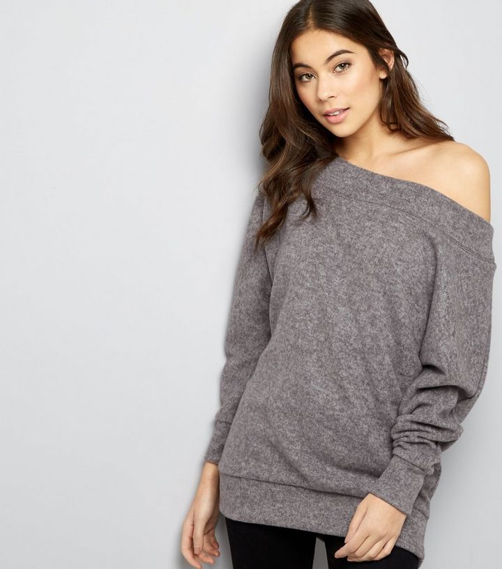 sports shoes utterly stylish professional sale Grey Bardot Neck Jumper Add to Saved Items Remove from Saved Items