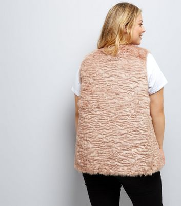 Curves Pink Faux Fur Gilet New Look