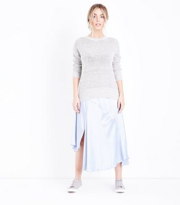 Petite Pale Grey Longline Jumper New Look