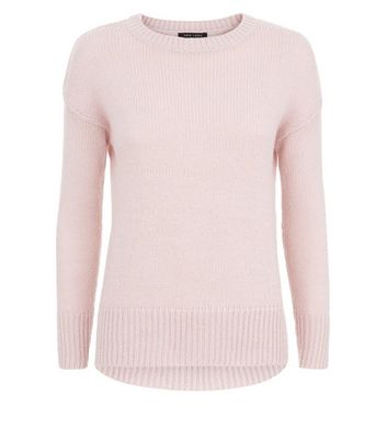 Petite Pink Dropped Shoulder Longline Jumper New Look