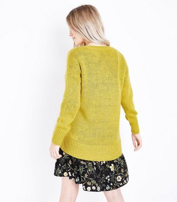 Petite Yellow Dropped Shoulder Longline Jumper New Look