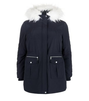 Curves Navy Faux Fur Trim HoodedParka New Look