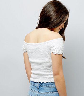 Teens White Shirred Frill Edge Bardot Neck Top New Look