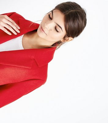Red Longline Collared Coat New Look