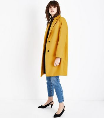 Yellow Longline Collared Coat New Look