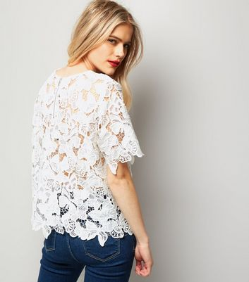 Cream Butterfly Lace T-Shirt New Look