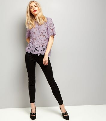 Lilac Butterfly Lace T-Shirt New Look