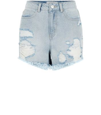 Blue Ripped Fray Hem Sequin Trim Denim Shorts New Look
