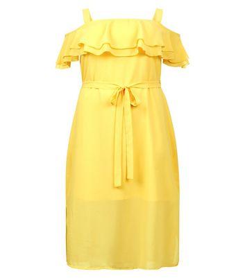 Curves Yellow Frill Trim Bardot Neck Midi Dress New Look
