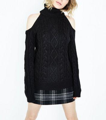 Black Cable Knit Cold Shoulder Jumper New Look