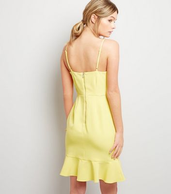 Yellow Frill Hem Bodycon Dress New Look