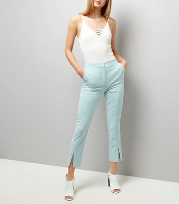 Mint Green Split Hem Trousers New Look