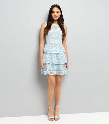 Pale Blue Premium Tiered Lace Dress New Look