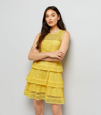 Yellow Premium Tiered Lace Dress New Look
