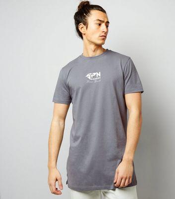 Blue NY Print Longline T-Shirt New Look
