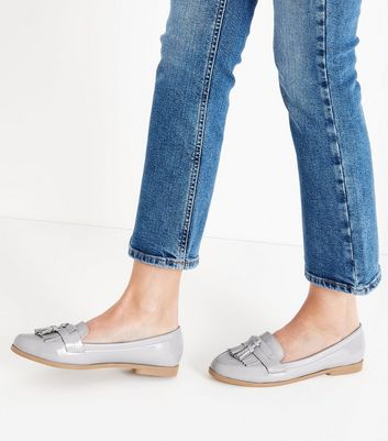 Grey Patent Fringe Front Loafers New Look