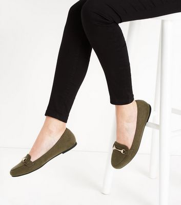 Khaki  Suedette Metal Trim Loafers New Look